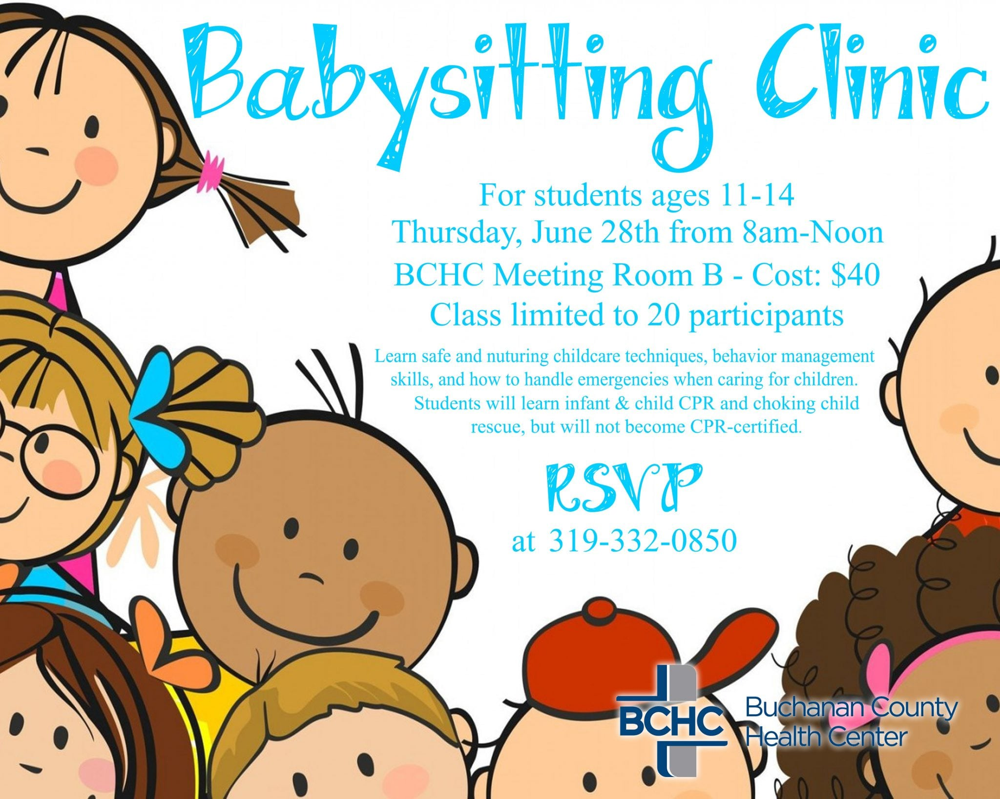 Babysitting Clinic to be offered at BCHC on June 28th