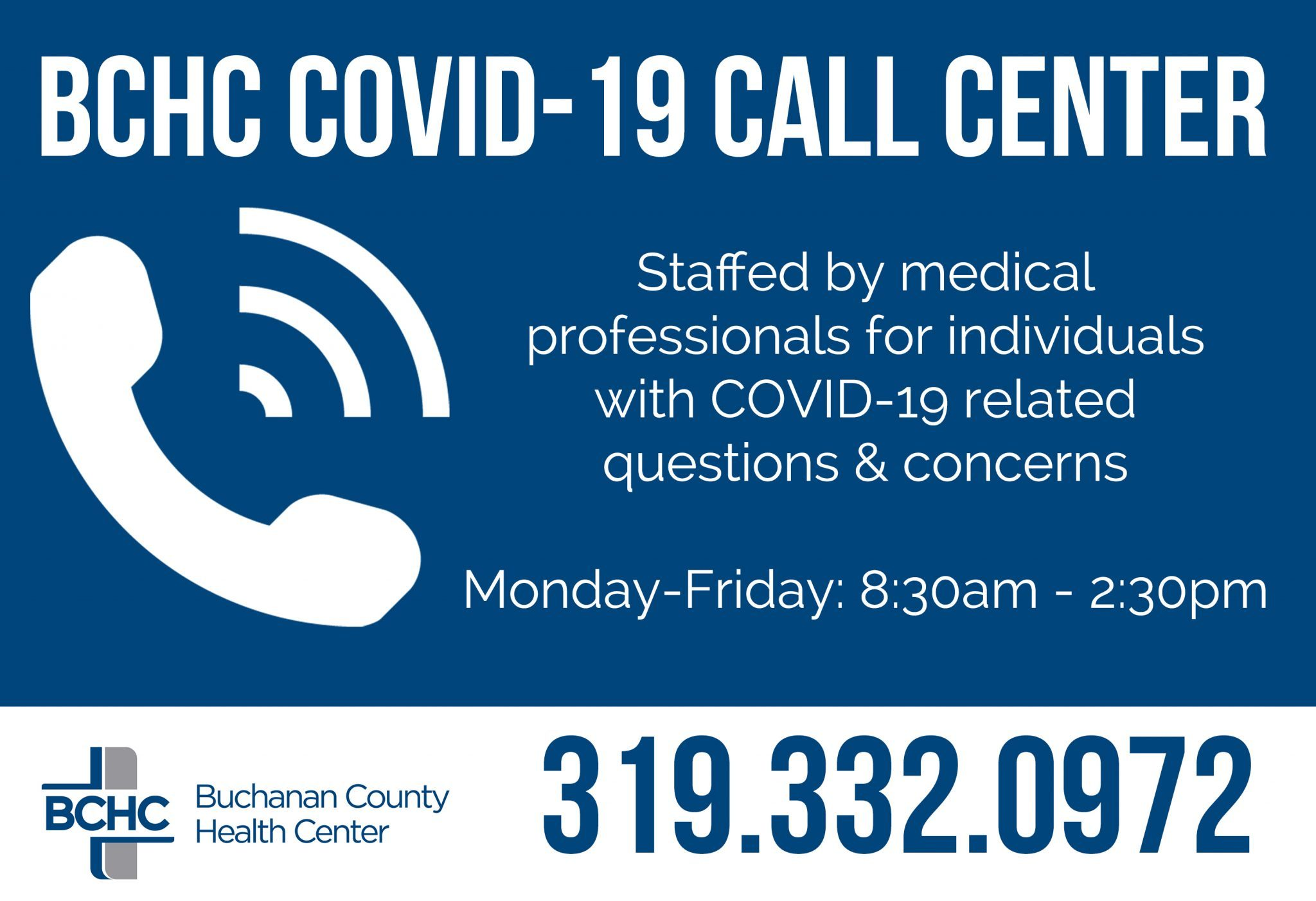 BCHC Reopens COVID Call Center