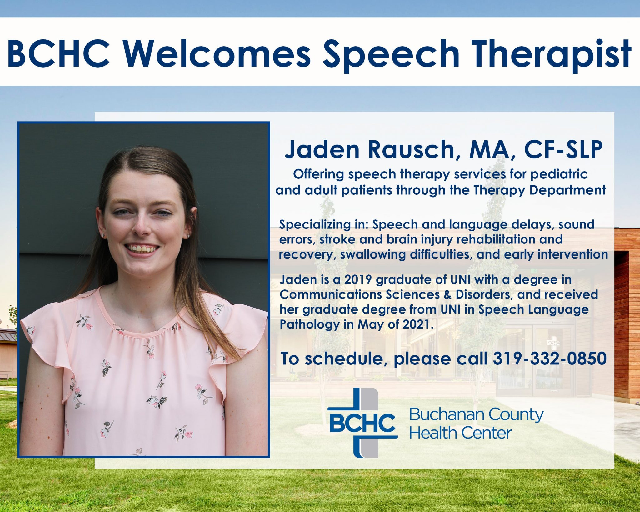 BCHC Welcomes Jaden Rausch, MA, CF-SLP to the Therapy & Rehabilitation Department
